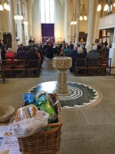 The bulging basket of MK Food Bank donations